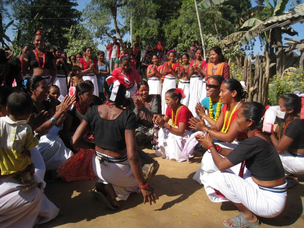 Dancing with Tharu women near Bardia National Park, Nepal